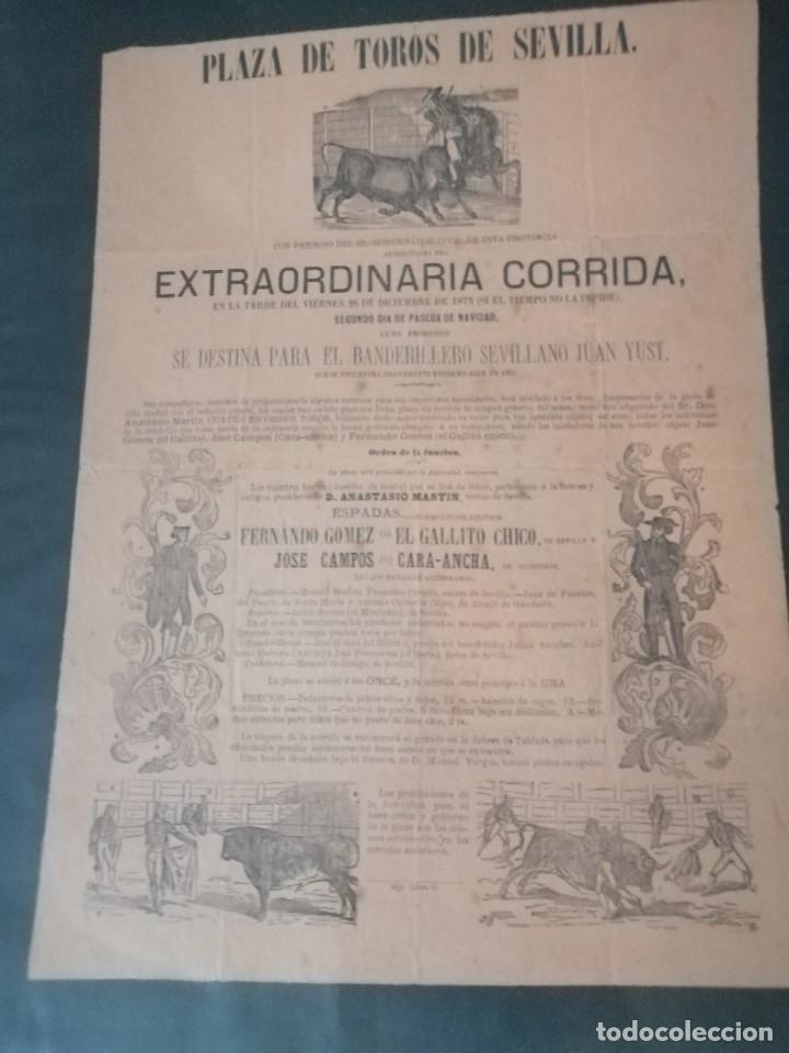 Carteles Toros: Cartel de toros antiguo extraordinaria corrida plaza de toros de sevilla - Foto 5 - 221719836