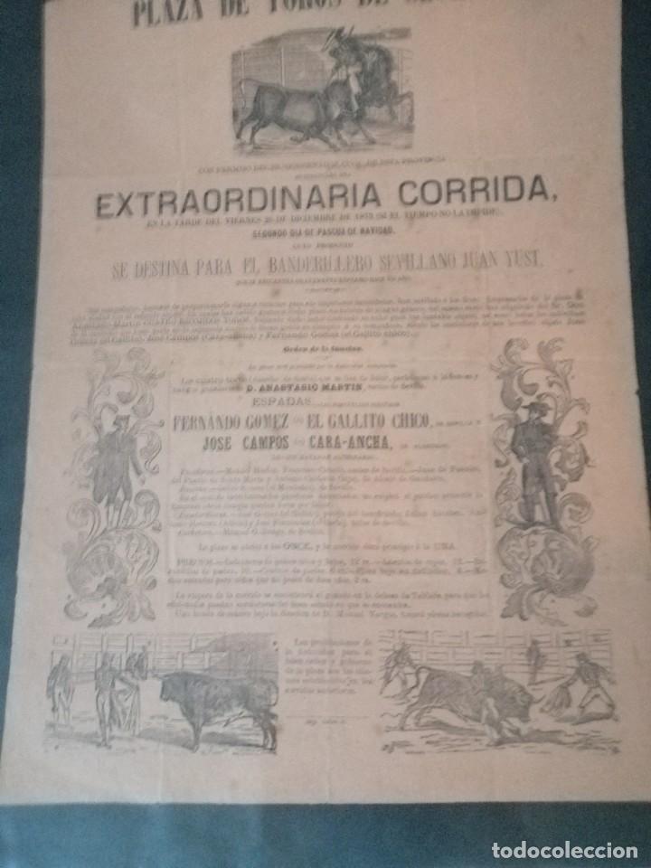 Carteles Toros: Cartel de toros antiguo extraordinaria corrida plaza de toros de sevilla - Foto 6 - 221719836