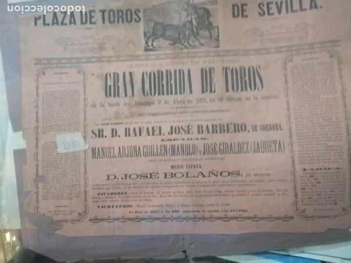 CARTEL GRAN CORRIDA DE TOROS PLAZA DE TOROS DE SEVILLA 1871 (Coleccionismo - Carteles Gran Formato - Carteles Toros)