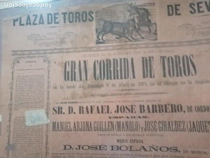 Carteles Toros: Cartel Gran corrida de toros plaza de toros de sevilla 1871 - Foto 2 - 221722062