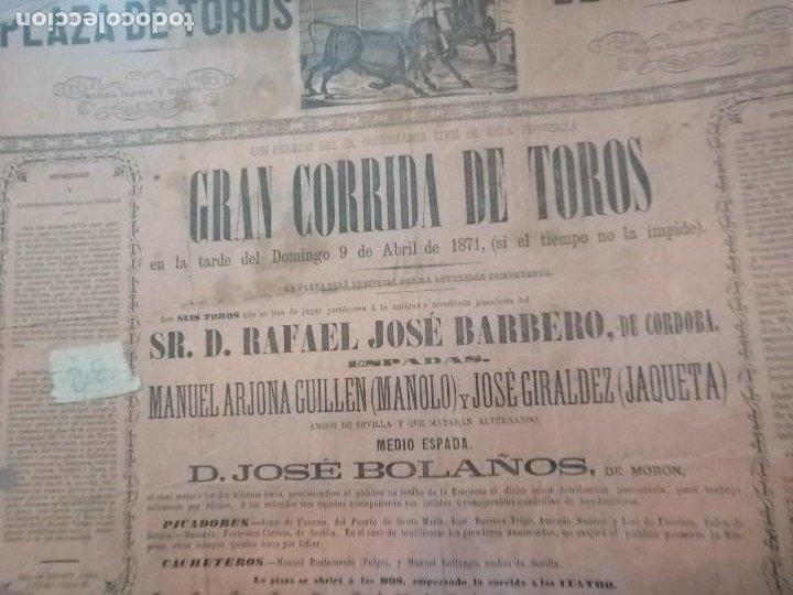 Carteles Toros: Cartel Gran corrida de toros plaza de toros de sevilla 1871 - Foto 3 - 221722062