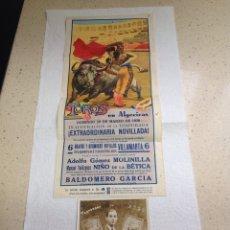Carteles Toros: CARTEL DE TOROS Y FOTO FIRMADA.MANUEL VELÁZQUEZ/NIÑO DE LA BETICA.1936/1937. Lote 221754807