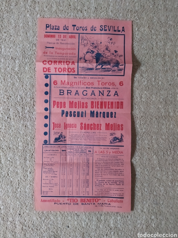 CARTEL PLAZA TOROS SEVILLA 1941 (Coleccionismo - Carteles Gran Formato - Carteles Toros)