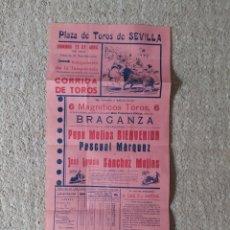 Carteles Toros: CARTEL PLAZA TOROS SEVILLA 1941. Lote 221884260