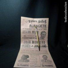 Carteles Toros: AÑO 1952.TOROS ALBACETE.PEDRES, MONTERO, CARTEL PLAZA.. Lote 222380136