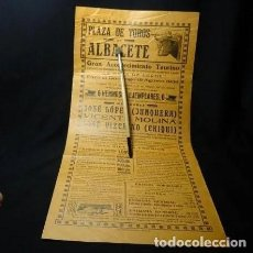 Carteles Toros: AÑO 1934. RARISIMO. TOROS ALBACETE A BENEFICIO DE LA GOTA DE LECHE, TOROS,CARTEL PLAZA. Lote 222382666