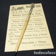 Carteles Toros: AÑO 1931 . TOROS FERIA ALBACETE, BIENVENIDA, ORTEGA, CARTEL PLAZA. Lote 222383378