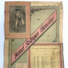 Carteles Toros: CARTEL CORRIDAS TOREADAS DE MANUEL RODRIGUEZ, MANOLETE. AÑO 1911. Lote 222444986