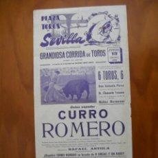 Carteles Toros: CURRO ROMERO COMO UNICO ESPADA EN LA MAESTRANZA DE SEVILLA JUEVES 13 DE JUNIO DE 1968 CORPUS CHRISTI. Lote 222695015