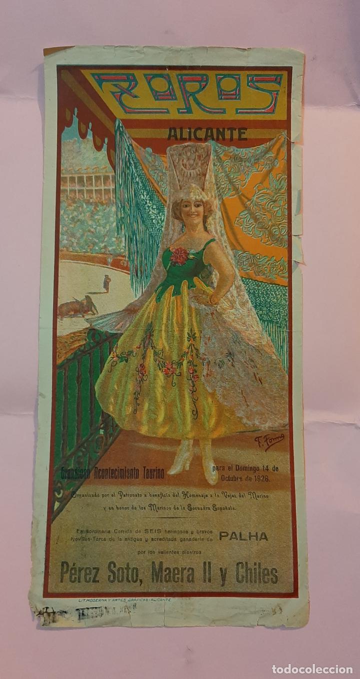CARTEL DE LA PLAZA DE TOROS DE ALICANTE 1928 EN BENEFICIO DE LA MARINA ESPAÑOLA (Coleccionismo - Carteles Gran Formato - Carteles Toros)
