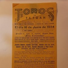 Carteles Toros: CARTEL DE LA PLAZA DE TOROS DE TETUÁN FESTIVAL TAURINO A BENEFICIO DEL HOGAR EXTREMEÑO MADRID 1934. Lote 222988413