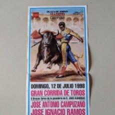 Carteles Toros: TOROS - CARTEL PLAZA LAS VENTAS MADRID - 12 JULIO 1998 - JOSE ANTONIO CAMPUZANO. Lote 223092768