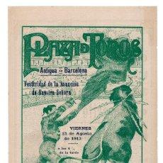 Carteles Toros: CARTEL PLAZA DE TOROS DE BARCELONA 1913. ANDRESITO Y BELMONTE CHICO.. Lote 223908292