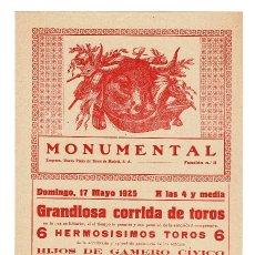 Carteles Toros: CARTEL PLAZA DE TOROS MONUMENTAL DE BARCELONA 1925. MARQUEZ, VILLALTA Y GITANILLO.. Lote 223909396