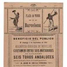 Carteles Toros: CARTEL PLAZA DE TOROS BARCELONA 1894.PEPE-HILLO, ARANSAES, VICENTE FERRER, MURULLA, COLÓN Y MORENITO. Lote 223916001