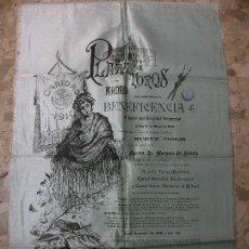 Carteles Toros: 1910 CARTEL DE TOROS SEDA BENEFICENCIA BOMBITA MACHAQUITO COCHERITO DE BILBAO - MARQUES DEL SALTILLO. Lote 224110317