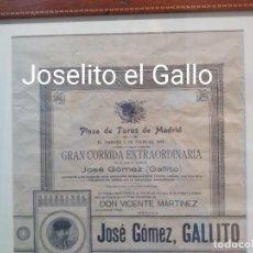 Carteles Toros: CARTEL 3 DE JULIO 1914. MADRID. JOSELITO EL GALLO. GALLITO. RAREZA. Lote 224236432
