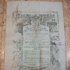 Affiches Tauromachie: 1912 CARTEL DE TOROS SEDA BENEFICENCIA ANTONIO FUENTES VICENTE PASTOR MANUEL R. MANOLETE GAONA. Lote 224109638