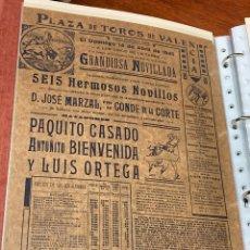 Carteles Toros: 1940 VALENCIA CARTEL DE TOROS 14 ABRIL - PAQUITO CASADO BIENVENIDA LUIS ORTEGA - DE MARZAL Y CORTE. Lote 224912230