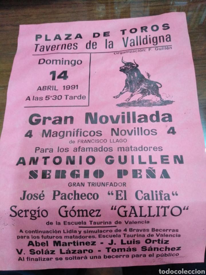 CARTEL PLAZA DE TOROS TAVERNES DE LA VALLDIGNA-GRAN NOVILLADA ABRIL 1991-22X15 (Coleccionismo - Carteles Gran Formato - Carteles Toros)