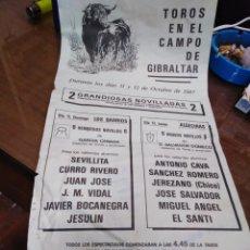 Affissi Tauromachia: CARTEL TOROS EN EL CAMPO DE GIBRALTAR-OCTUBRE 1987-2 GRANDIOSAS NOVILLADAS-43X21. Lote 225144055