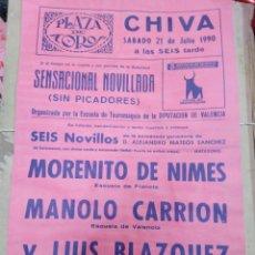 Affissi Tauromachia: CARTEL PLAZA DE TOROS CHIVA-JULIO 1990-33X22. Lote 225149805