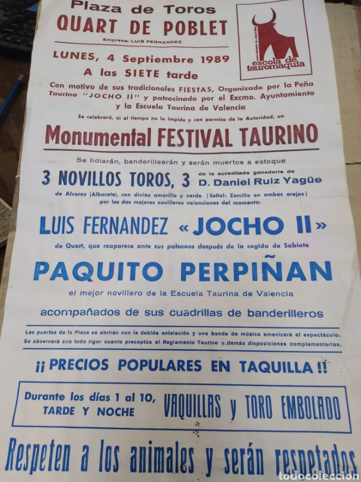CARTEL PLAZA DE TOROS QUART DE POBLET-SEPTIEMBRE 1989-38X22 (Coleccionismo - Carteles Gran Formato - Carteles Toros)