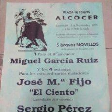 Affissi Tauromachia: CARTEL PLAZA DE TOROS ALCOCER (GUADALAJARA) SEPTIEMBRE 1996,29X20. Lote 225156205