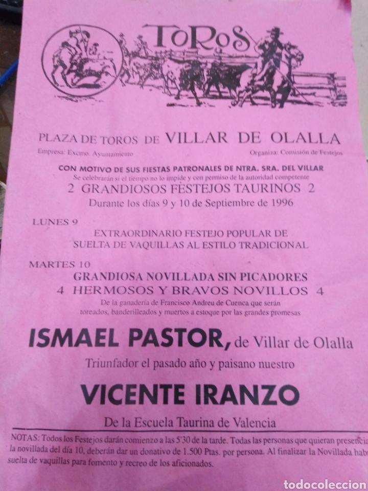 CARTEL PLAZA DE TOROS DE VILLAR DE OLALLA(CUENCA)SEPTIEMBRE 1996-29X20 (Coleccionismo - Carteles Gran Formato - Carteles Toros)