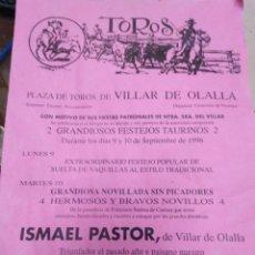 Affissi Tauromachia: CARTEL PLAZA DE TOROS DE VILLAR DE OLALLA(CUENCA)SEPTIEMBRE 1996-29X20. Lote 225156600