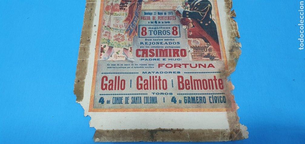 Carteles Toros: CARTELERA TAURINA - NUEVA PLAZA DE TOROS DE BARCELONA - DOMINGO 23 DE MAYO DE 1915 - Foto 3 - 225240838