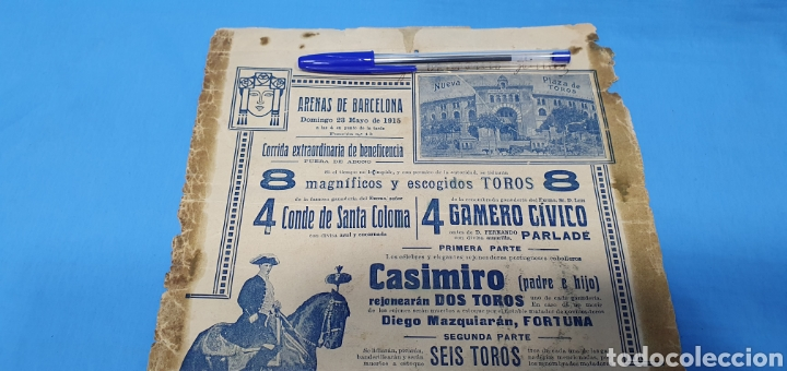 Carteles Toros: CARTELERA TAURINA - NUEVA PLAZA DE TOROS DE BARCELONA - DOMINGO 23 DE MAYO DE 1915 - Foto 7 - 225240838