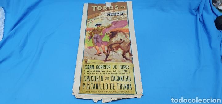 CARTELERA TAURINA - TOROS EN MURCIA- DOMINGO 8 DE JULIO 1928 CHICUELO/CAGANCHO Y GITANILLO TRIANA (Coleccionismo - Carteles Gran Formato - Carteles Toros)