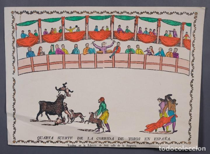GRABADO COLOREADO QUARTA SUERTE DE LA CORRIDA DE TOROS EN ESPAÑA LIBRERÍA SOLÁ BOQUERÍA BARCELONA (Coleccionismo - Carteles Gran Formato - Carteles Toros)