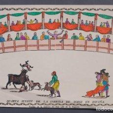 Affissi Tauromachia: GRABADO COLOREADO QUARTA SUERTE DE LA CORRIDA DE TOROS EN ESPAÑA LIBRERÍA SOLÁ BOQUERÍA BARCELONA. Lote 225608307
