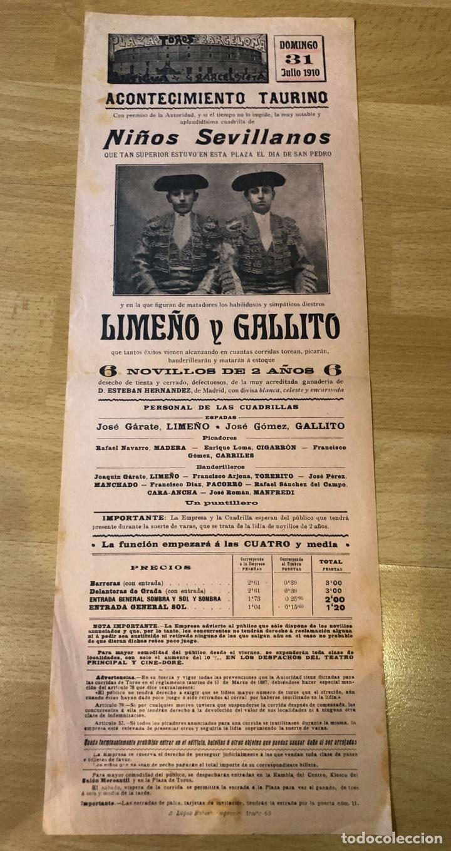 CARTEL PLAZA DE TOROS ANTIGUA DE LA BARCELONETA 1910.NIÑOS SEVILLANOS.LIMEÑO Y GALLITO (Coleccionismo - Carteles Gran Formato - Carteles Toros)