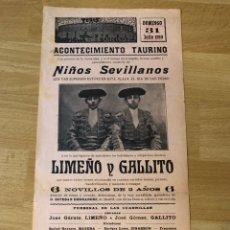 Affissi Tauromachia: CARTEL PLAZA DE TOROS ANTIGUA DE LA BARCELONETA 1910.NIÑOS SEVILLANOS.LIMEÑO Y GALLITO. Lote 225663470