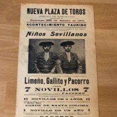 Affissi Tauromachia: CARTEL PLAZA DE TOROS ANTIGUA DE LA BARCELONETA 1910 NIÑOS SEVILLANOS LIMEÑO GALLITO Y PACORRO. Lote 225663655
