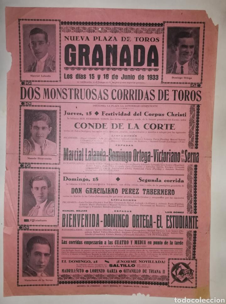 CARTEL GRANADA 1933 CORPUS CRISTI (Coleccionismo - Carteles Gran Formato - Carteles Toros)