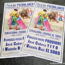 Carteles Toros: LOTE DE 2000 CARTELES DE TOROS POZOBLANCO 1984 MUERTE DE PAQUIRRI LITOGAFIA YIYO Y EL SORO ORIGINAL. Lote 226828610