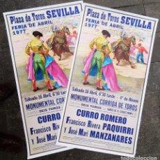 Carteles Toros: LOTE DE 2000 CARTELES DE TOROS SEVILLA FERIA ABRIL 1977 CURRO ROMERO PAQUIRRI LITOGAFIA ORIGINAL. Lote 226829415