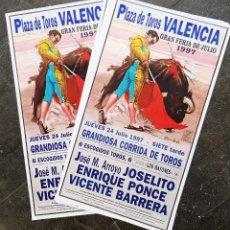 Carteles Toros: LOTE DE 3000 CARTELES DE TOROS VALENCIA FERIA 1997 JOSELITO PONCE Y BARRERA LITOGAFIA ORIGINAL. Lote 226830280