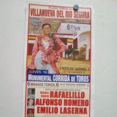 Affissi Tauromachia: LOTE CARTELES DE TOROS DE VILLANUEVA DEL RIO SEGURA. Lote 227692665