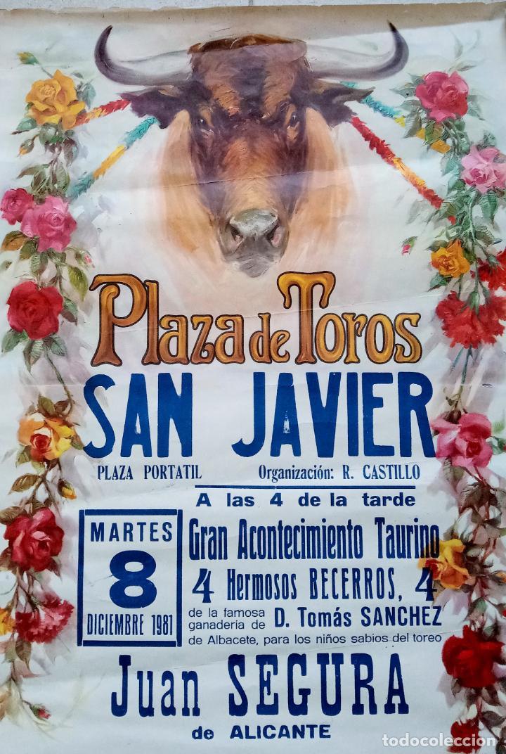 Carteles Toros: BONITO CARTEL PLAZA DE TOROS DE SAN JAVIER, MURCIA. BECERRADA 1981. W - Foto 2 - 228014865