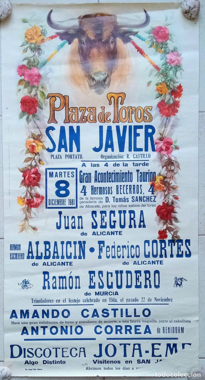 BONITO CARTEL PLAZA DE TOROS DE SAN JAVIER, MURCIA. BECERRADA 1981. W (Coleccionismo - Carteles Gran Formato - Carteles Toros)