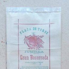 Carteles Toros: CARTEL TOROS PLAZA DE TOROS DE JUMILLA, MURCIA. GRAN BECERRADA. TELA, SEDA???. W. Lote 228015305