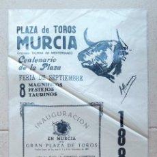 Carteles Toros: CARTEL TOROS PLAZA DE TOROS DE MURCIA. CENTENARIO DE LA PLAZA. 1987. TELA, SEDA???. W. Lote 228015805