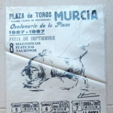Carteles Toros: CARTEL TOROS PLAZA DE TOROS DE MURCIA. CENTENARIO DE LA PLAZA. 1987. TELA, SEDA???. W. Lote 228015860