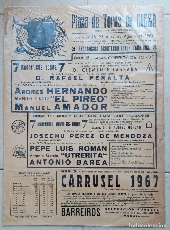 CARTEL PLAZA DE TOROS DE CIEZA. ACONTECIMIENTOS TAURINOS. CORRIDAS DE TOROS Y CARRUSEL. 1967. W (Coleccionismo - Carteles Gran Formato - Carteles Toros)