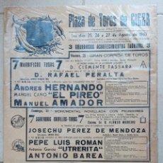 Carteles Toros: CARTEL PLAZA DE TOROS DE CIEZA. ACONTECIMIENTOS TAURINOS. CORRIDAS DE TOROS Y CARRUSEL. 1967. W. Lote 228016640